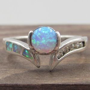Jewelry - Size 5 Sterling Unique Opal & CZ Diamond Ring
